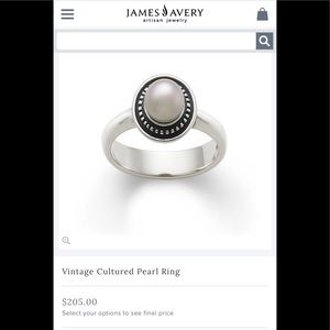 James Avery vintage cultured pearl ring
